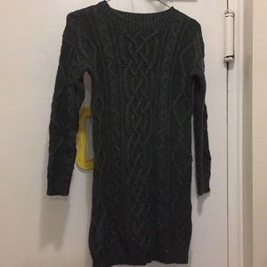 Great dark green cable sweater dress